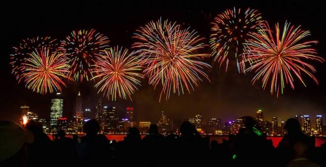Skyworks on Australia Day in Perth City