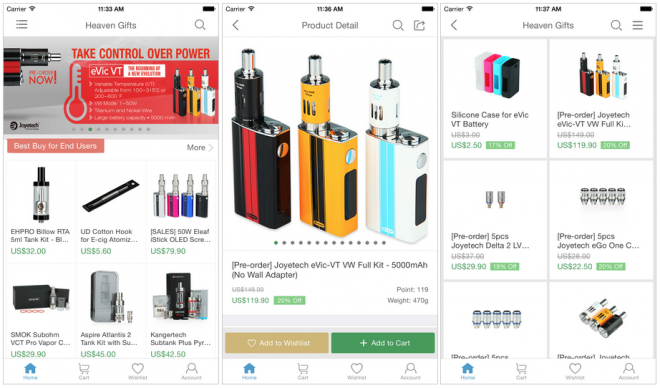 Shopping electronic cigarettes in the Heaven Gifts app